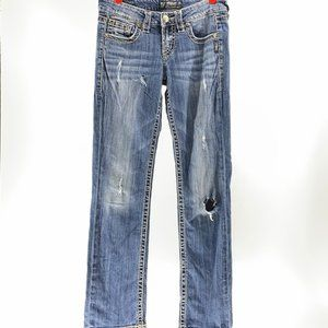 "Silver Jeans LOLA 17"" Distressed Medium Wash"